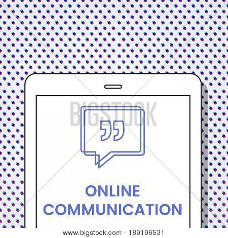 Online Communication Speech Bubble with Quotation Mark