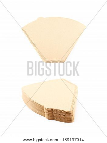 Stack of multiple paper coffee filters isolated over the white background, set of two different foreshortenings