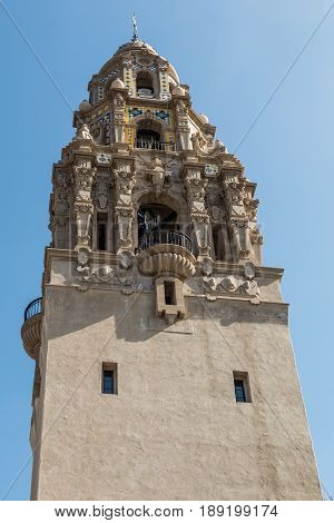 SAN DIEGO, CALIFORNIA - APRIL 28, 2017:  A symbol of San Diego, the iconic California Tower in Balboa Park was built at the entryway of the 1915-1916 Panama-California Exposition.