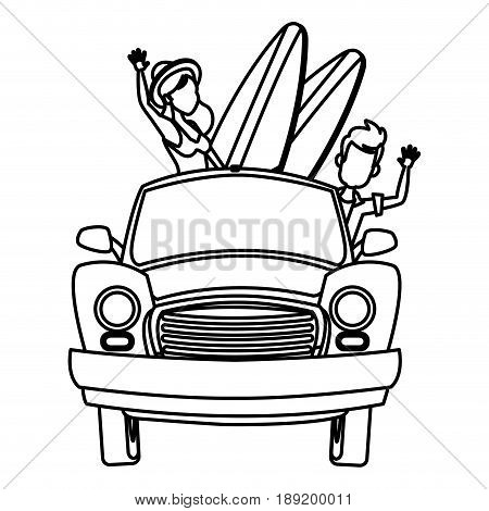 Vector illustration of cartoon character on senior age travelers with vintage old car with luggage on top. Retired tourists couple ready to their road trip. Grandparents having summer holidays trip