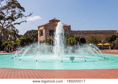 SAN DIEGO, CALIFORNIA - APRIL 28, 2017:  The Bea Evenson fountain outside the Fleet Science Center, a science museum and planetarium in Balboa Park.