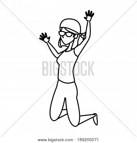 beautiful energetic young woman great leap vector illustration