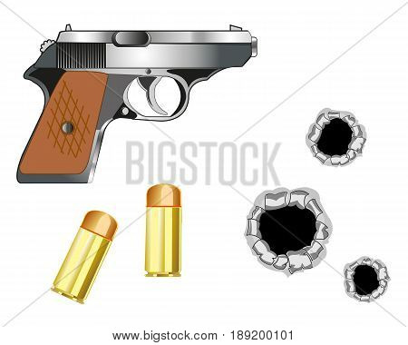 Gun with patron and bullet holes on white background