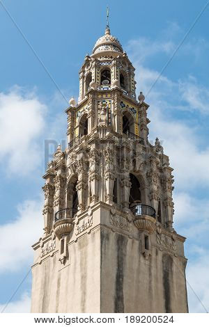 SAN DIEGO, CALIFORNIA - APRIL 28, 2017:  The iconic California Tower at the Museum of Man in Balboa Park, built in 1915 for the Panama-California Exposition.