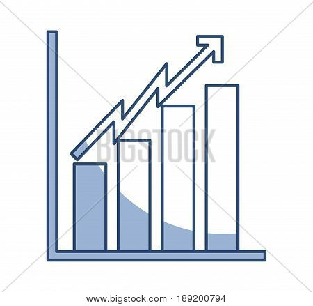 shadow blue bar chart icon graphic design