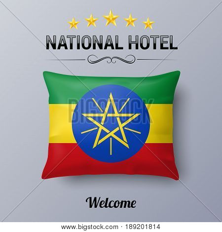 Realistic Pillow and Flag of Ethiopia as Symbol National Hotel. Flag Pillow Cover with Ethiopian flag