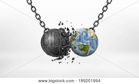 3d rendering of a black broken wrecking ball hitting an Earth globe on a black chain on white background. Business and environment. Regulations against pollution. Safe planet.