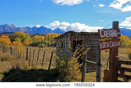 Sign to Butch Cassidy and Sundance Kid House, Cholila, Argentina