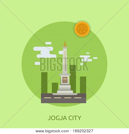 Jogja City of Indonesia Conceptual Design | Set of great flat design illustration concepts for city, indonesian, travel and much more.