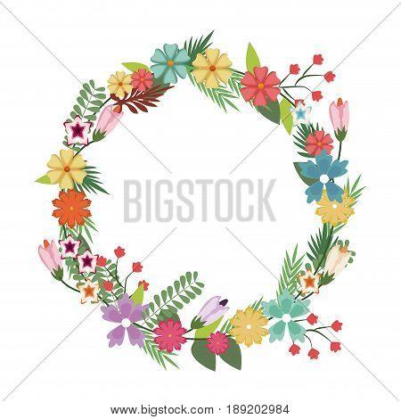 beautiful wreath elegant floral leaves and flowers vector illustration