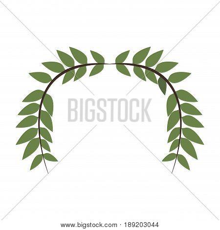 laurel wreath round and half laurel bottom vector illustration