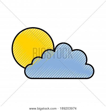 cute scribble sun and cloud icon cartoon vector graphic design