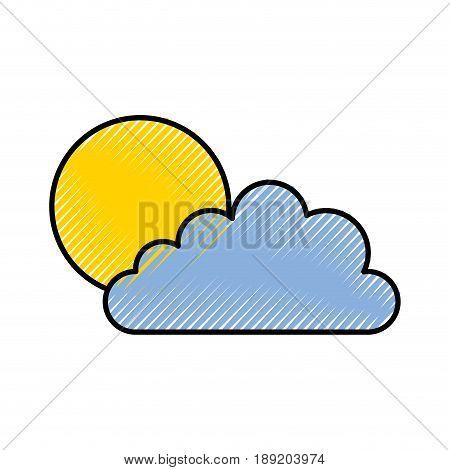 cute scribble sun and cloud icon cartoon vector graphic design