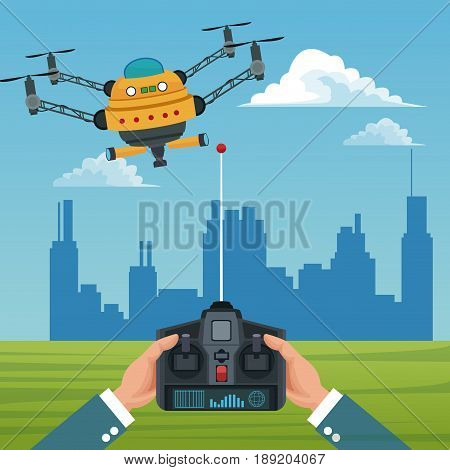 sky landscape with buildings scene and people handle remote control with big robot drone with four airscrew and pair of telescope vector illustration