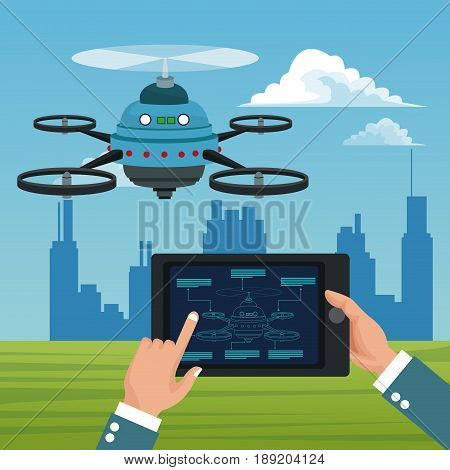 sky landscape with buildings scene and people handle remote control in tablet with blue robot drone with five airscrew vector illustration