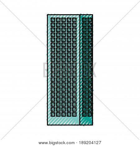 scribble Blue aquamarine tall building cartoon vector graphic design