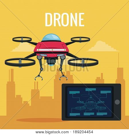 yellow scene city landscape set remote control tablet and red robot drone with metal arms and four airscrew vector illustration