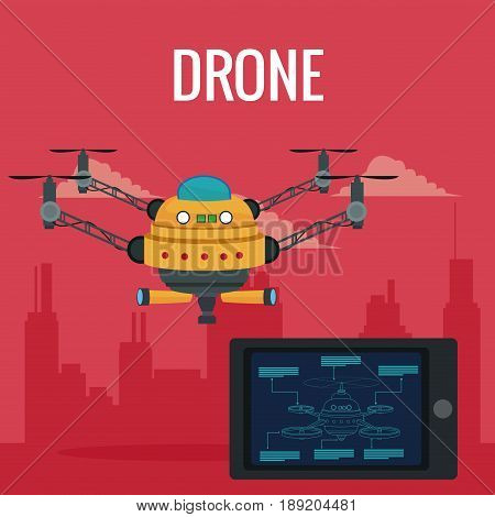 red scene city landscape set remote control tablet and big yellow robot drone with four airscrew and pair of telescope vector illustration