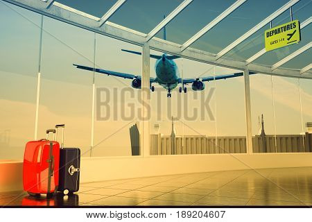passenger plane flying over airport terminal - traveling luggage at airport terminal