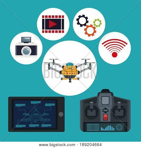 color background remote control and tablet with drone metal arms and icons set tech robot vector illustration