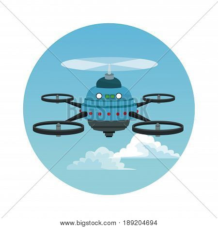 circular frame with sky landscape scene and blue robot drone with five airscrew vector illustration