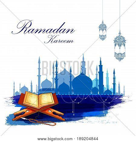 easy to edit vector illustration of holy book Koran in Happy Ramadan Kareem background