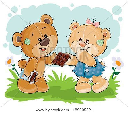 illustration of funny teddy bear sweet tooth treats his girlfriend chocolate