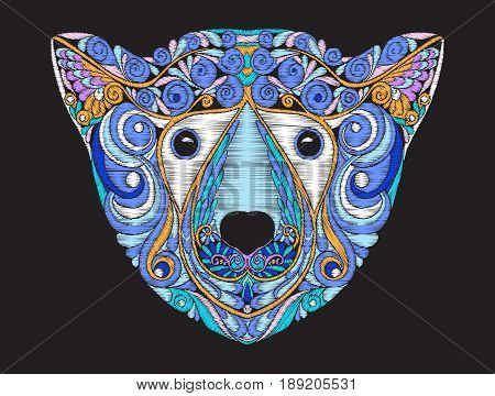 Embroidery ethnic patterned ornate head polar bear. Stock vector illustration.