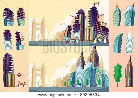 cartoon illustration of an urban landscape with large modern buildings. Construction site with unfinished buildings. The concept of urban life.