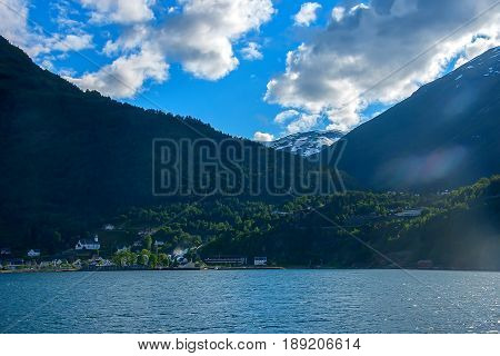 Geiranger fjord, view from the ferry deck