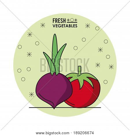 colorful poster of fresh vegetables with beet and tomato vector illustration