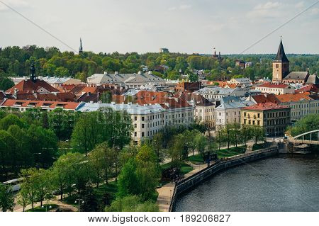 Cityscape of Tartu town. From above view by spring day