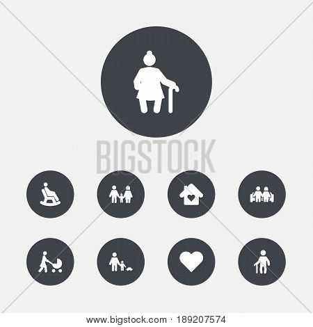 Set Of 9 Family Icons Set.Collection Of Grandma , Father With Son, Married Elements.