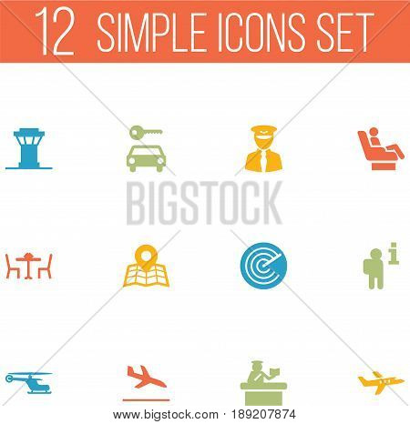 Set Of 12 Aircraft Icons Set.Collection Of Letdown, Aircraft, Aviator And Other Elements.