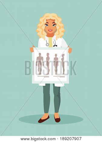 Female Intern with a poster with the human anatomy. Vector illustration