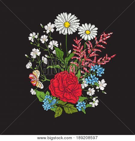 Embroidery. Bouquet with roses and daisies. Traditional European pattern. Stock line vector illustration.