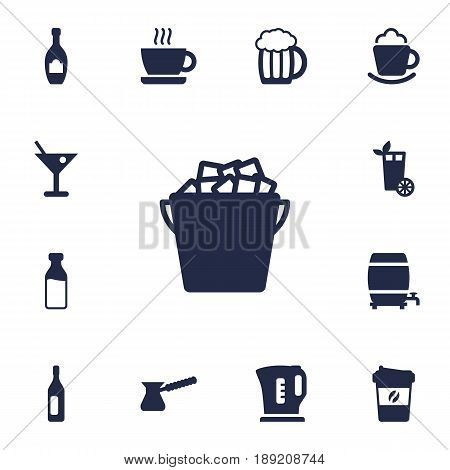 Set Of 13 Beverages Icons Set.Collection Of Cup, Fridge, Drink And Other Elements.