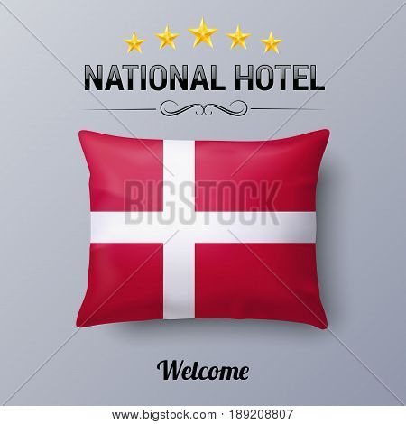 Realistic Pillow and Flag of Denmark as Symbol National Hotel. Flag Pillow Cover with Danish flag