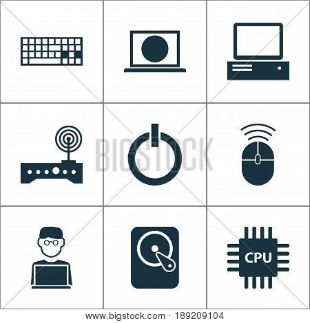 Device Icons Set. Collection Of Power On, Programmer, Keypad And Other Elements. Also Includes Symbols Such As Cpu, Hdd, Motherboard.