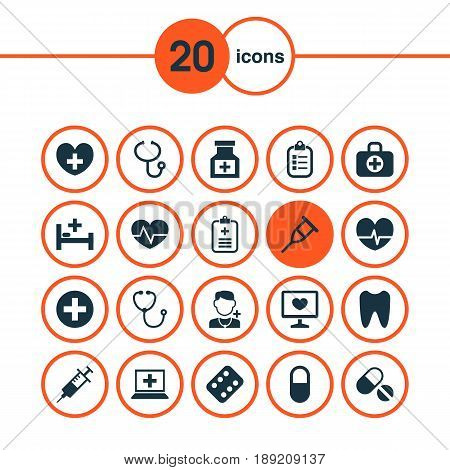Antibiotic Icons Set. Collection Of Beating, Heal, Stand Elements. Also Includes Symbols Such As Doctor, Physician, Data.