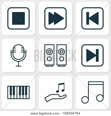 Audio Icons Set. Collection Of Run Song Back, Skip Song, Sound Box And Other Elements. Also Includes Symbols Such As Button, Audio, Sell.