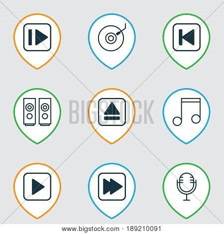 Music Icons Set. Collection Of Mike, Gramophone, Extract Device And Other Elements. Also Includes Symbols Such As Rewind, Eject, Start.