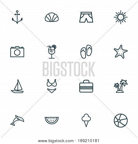 Sun Outline Icons Set. Collection Of Melon, Baggage, Ice Cream And Other Elements. Also Includes Symbols Such As Drink, Berry, Briefs.