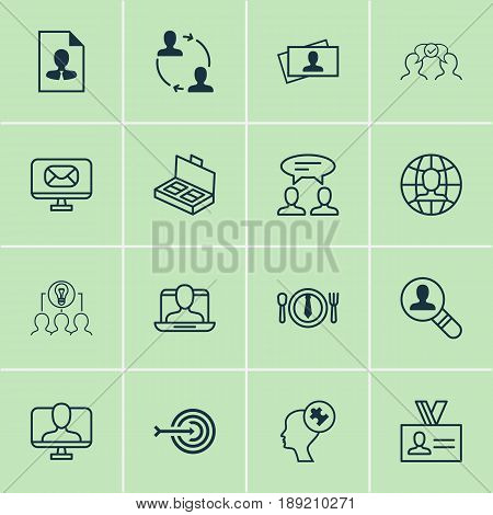 Icons Set. Collection Of Email, Human Mind, Open Vacancy And Other Elements. Also Includes Symbols Such As Find, Job, Arrow.