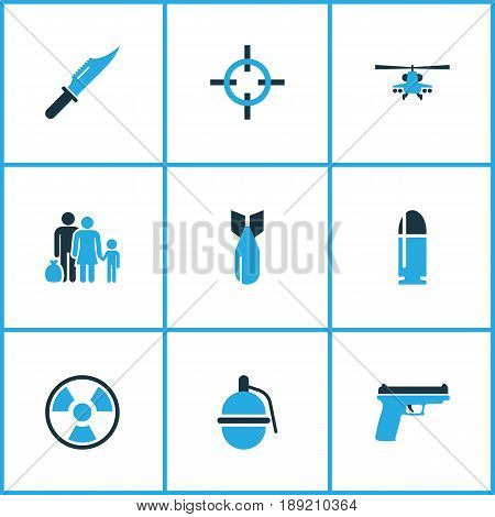 Army Colorful Icons Set. Collection Of Grenade, Refugee, Helicopter And Other Elements. Also Includes Symbols Such As Sniper, Radiation, Bullet.