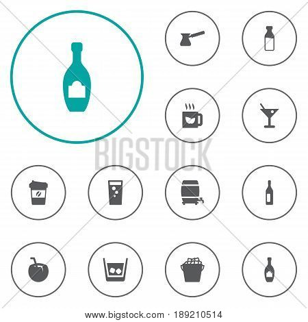 Set Of 12 Beverages Icons Set.Collection Of Soda, Hot, Cask And Other Elements.