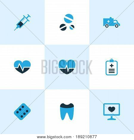 Antibiotic Colorful Icons Set. Collection Of Form, Vaccine, Pulse And Other Elements. Also Includes Symbols Such As Pellet, Drug, Capsule.