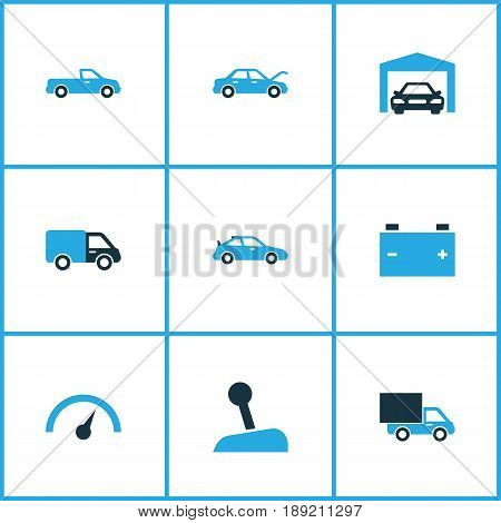 Automobile Colorful Icons Set. Collection Of Battery, Van, Pickup And Other Elements. Also Includes Symbols Such As Accumulator, Fixing, Carriage.