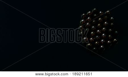 9mm bullets on the black mirror background