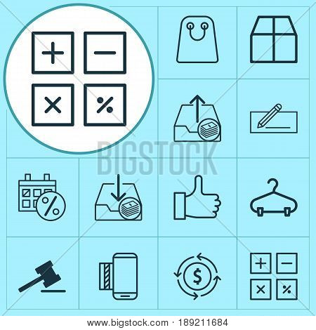 E-Commerce Icons Set. Collection Of Calculation Tool, Peg, Money Transfer And Other Elements. Also Includes Symbols Such As Exchange, Purchase, Transfer.